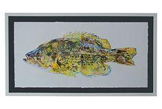 One Kings Lane - Chic, Sculptural & Modern - Framed Pastel, Rock Bass