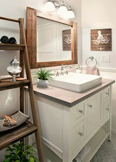 This modern bathroom in Seal Beach, CA with rustic accents gives it a polished, yet warm feel. The white Shaker cabinets and white Vessel sink stand out against the grey Quartz countertop perfect for a beach home. Modern Bathtub, Modern Bathroom Design, Bathroom Interior Design, Blue Master Bedroom, Master Bath, Bathroom Wall Decor, Bath Decor, Bathroom Ideas, White Vessel Sink