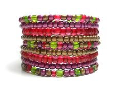 Cranberry and Green Memory Wire Stacking Bracelet.  by Wrapped & Snapped.