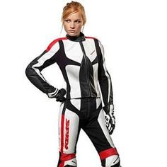 Spidi Womens Poison Two-Piece Leather Suit - Black White