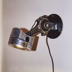 Piston Wall Lamp by Steamjunkprops. No longer available on etsy, but still avail. Car Part Furniture, Automotive Furniture, Furniture Design, Bench Furniture, Metal Projects, Welding Projects, Woodworking Projects, Projects To Try, Lampe Metal