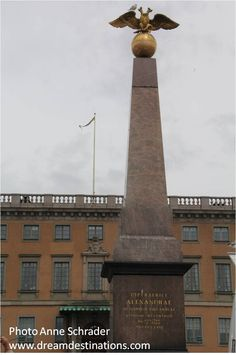 Czarina's Stone, Helsinki Finland This was the public monument in Helsinki, erected in 1835 to honor the visit of Czar Nicholas I & Czarina Alexandra. Helsinki, Cn Tower, Finland, Sweden, Public, Stone, World, Building, Travel