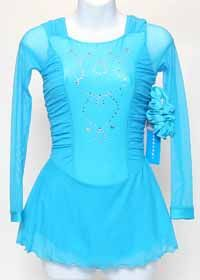Crystallica Lycra Dress with Glittery Swarovski Crystals  Straight mesh sleeves combined with rushed mesh shoulders and rushing along the sides and back.  Mesh overskirt with a shorter Lycra skirt underneath.  Color: Turquoise  Size: Child 12-14