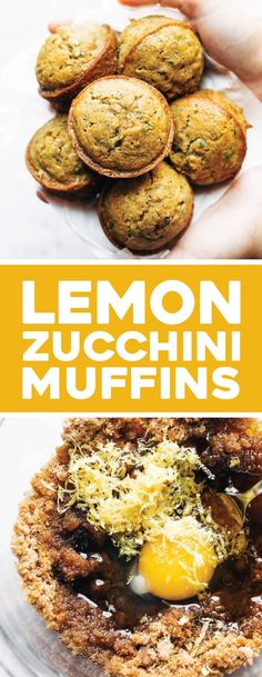 Lemon Poppyseed Zucchini Muffins are the BEST! Lemony and bright and made with simple ingredients like zucchini, olive oil, flour, and sugar. Lemon Zucchini Muffins, Zucchini Breakfast, Zuchinni Cupcakes, Breakfast Potatoes, Best Breakfast, Breakfast Recipes, Breakfast Muffins, Breakfast Club, Brunch Recipes