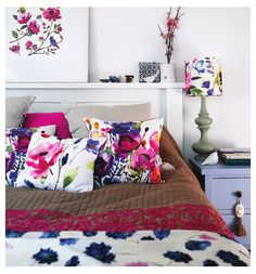 Fiona Douglas' amazing home full of floral cushions from her label bluebellgray. As featured in Adore Home magazine