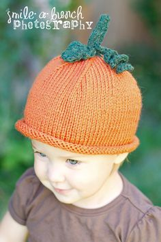 Kid's Knit Pumpkin Hat in Autumn Orange with a Green by beatknits, $20.00