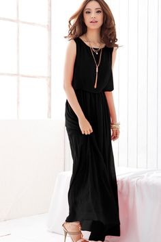 Mouwloze zwarte lange chiffon jurk