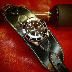 Leather cuff watch Casio diver watch 2 wide by MataraCustomLeather