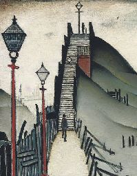 Laurence Stephen Lowry A Footbridge, 1938 x 43 cm. Salford, Illustrations, Illustration Art, English Artists, Naive Art, Art For Art Sake, Urban Landscape, Famous Artists, Lovers Art