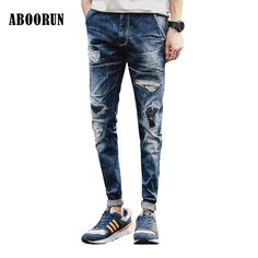 af6c7d49 ABOORUN 2017 Mens Patched Slim fit Jeans Brand Distressed Destoryed Washes Pencil  Denim Pants for Men
