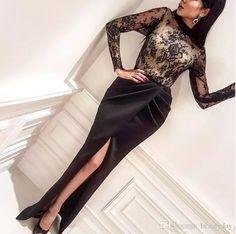 Formal Evening Dresses Wear Long Sleeve Party Prom Gowns Yousef aljasmi Labourjoisie Celebrity Sheer Neck Arabic Lace Mermaid Front Split