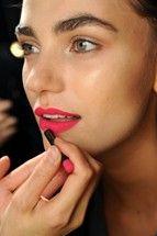 Bright pink matte lips
