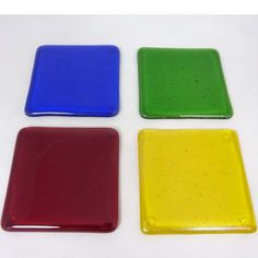 Fused Glass Coasters with bright primary colours- set of 4