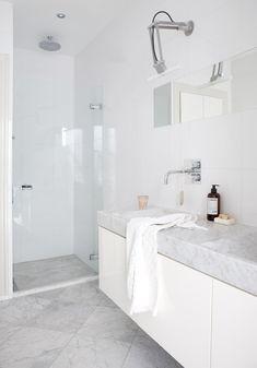 Bathroom Renos, Laundry In Bathroom, White Bathroom, Bathroom Renovations, Modern Bathroom, Interiors Magazine, Beautiful Bathrooms, Bathroom Inspiration, Design Inspiration