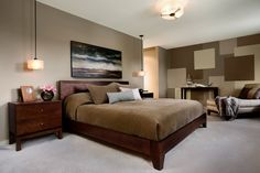 brown Bedroom color blocking wall could paint boards and place them 3D above your bed across the wall and place your saying in the center on a large color block