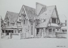 """An old commission piece - Nathan G. Moore House by Frank Lloyd Wright. #art #drawing #pen #sketch #illustration #linedrawing #architecture #house…"""