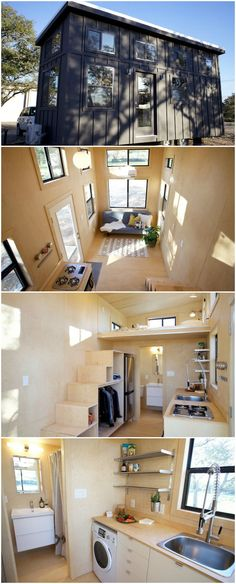 This awesome tiny house was created by Alex & Marianne Worlow of Nomad Tiny Homes. After 10 years of building traditional houses they switched their focus to building efficient, eco-friendly tiny homes. This model is 200 sq.ft. on the main floor and 63 sq.ft. in the loft. It is 23.5′ long and features birch plywood throughout.