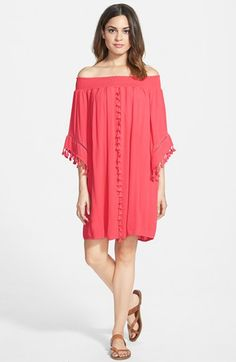Fire+Tassel+Trim+Off+the+Shoulder+Dress+(Juniors)+available+at+#Nordstrom