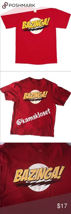 """Big Bang Theory """"BAZINGA!"""" Tee Shirt This GUC tee shirt still has tons of life left! Everyone loves Sheldon! Be the envy of your friends with this BAZINGA short sleeve shirt! Made of 100% Cotton! Officially licensed. There is wear damage on the front vinyl (please see pictures 3 & 4.) The Big Bang Theory Shirts Tees - Short Sleeve"""