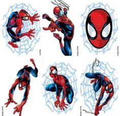 A 6 pack of Spiderman removable tattoos. One of each design - an ideal kids party bag filler.
