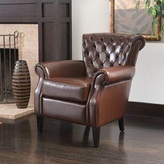 Shafford Brown Tufted Leather Club Chair