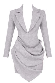 It's cut from our exclusive luxurious lightweight suiting fabric in a delicate grey shade. The tailored structured shape is sleek and stylish and we love the daring yet appropriate plunge neckline. Classy Outfits, Chic Outfits, Dress Outfits, Fashion Dresses, Blazer Outfits, Couture Fashion, Runway Fashion, Womens Fashion, Blazer Dress