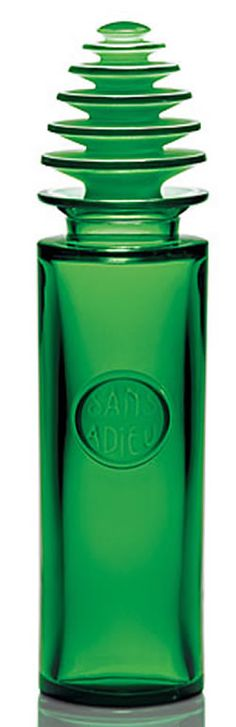 Sans Adieu Lalique France Crystal Green Glass Perfume Bottle 14 Inches Tall