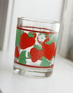 Strawberry glass glas met aardbeien motief