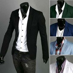 Stylish Men's Casual Slim Fit One Button Suit Blazer Coat Jackets | eBay