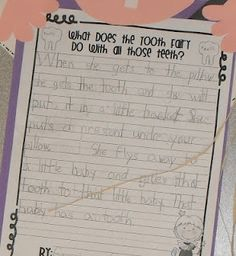 I had my firsties write about what they think the tooth fairy does with all those teeth.