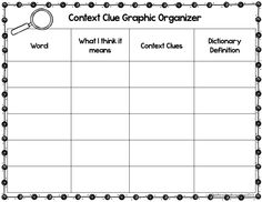 {FREEBIE!} This context clue graphic organizer is great for both your fiction and nonfiction reading. You can have your students write in words they are unfamiliar with as they are reading or you can have words pre-written in the word box and then have your students fill in the rest of the chart. This graphic organizer is great tool to help students use strategies to figure out unknown words.