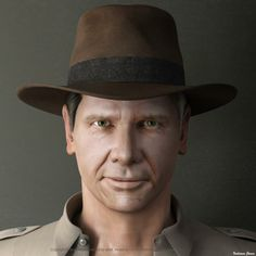 model of Harrison Fords Indiana Jones face created in Harrison Ford Indiana Jones, 3d Character Animation, Imagines, Face, Model, Mathematical Model, Pattern, Faces