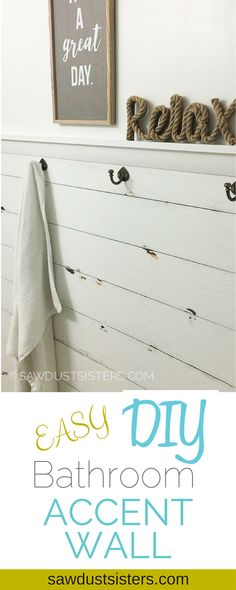 Farmhouse Bathroom Shiplap Plank Walls 25 New Ideas - Farmhouse Decoration Bathroom Accent Wall, Shiplap Bathroom, Bathroom Accents, Small Bathroom, Washroom, Bathroom Canvas, Neutral Bathroom, Bathroom Colors, Bathroom Vanities