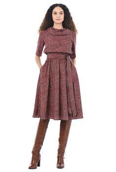 7d8a56a2c0a Herringbone print crepe cowl neck blouson dress
