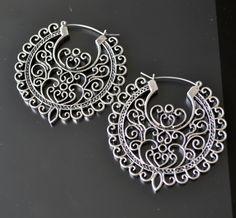 Tribal Earrings, Hoop Earrings, Silver Hoop Earrings, Filigree Earrings, Round…