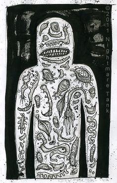 Armageddon Man, raw anxiety, outsider horror art brut by Nightmare Tank