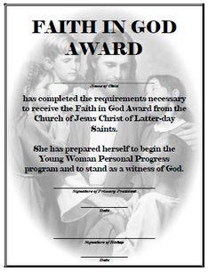 Faith in God Award for Girls