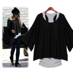 2 PCS T-Shirt +Tank Vest Sexy Women Batwing Blouses Casual Short Sleeve Loose Tops   Love yourself