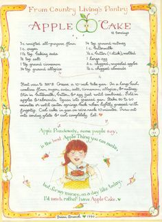 Apple Cake, Susan Branch for Country Living Magazine