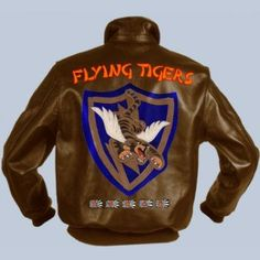 Nose art, Flying Tigers 23 Fighter Group Insignia. Five layers of leather hand cut and stitched together Hand painted. Explore the collection of our unique flight jackets at www.flightjacket.com. MADE IN THE USA