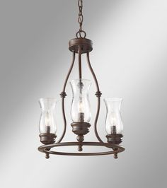 Three Light Heritage Bronze Clear Seeded Glass Up Chandelier : F2782/3HTBZ | Williams Lighting Galleries