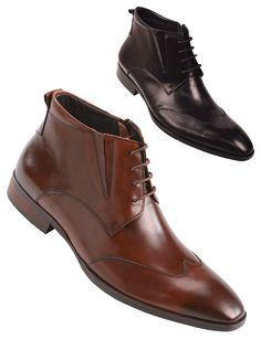 Steven Land Footwear Collection Mens Classic Wingtip Style Genuine Leather Dress Boot with Side Zipper $149 #StevenLand #Standout