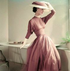 https://flic.kr/p/cczyPu | 1952 | Wearing a fascia dress in fawn silk muslin with white gloves and a matching hat.