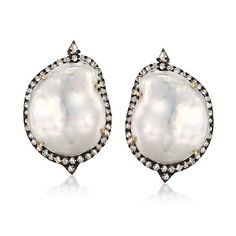 Baroque Cultured Pearl and 1.76 ct. t.w. Brown and White Diamond Drop Earrings in Two-Tone