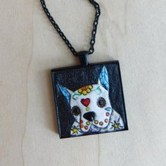 Hand-Tooled Leather Boston Terrier Dia de Los Muertos Necklace by JosieDybeDesigns