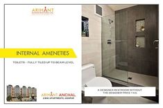 Arihant Anchal - Jodhpur 2 BHK Apartments  Toilets - Fully Tiled Up To Beam Level  www.asl.net.in/arihant-anchal.html  #ArihantAnchal #RealEstate #Jodhpur #Rajasthan #Property #LuxuryHomes