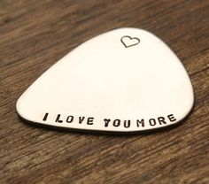 I Love You More Guitar Pick Gif for Her Gift For Him Music Gift For Him For Her valentines day birthday anniversary christmas for him mens husband boyfriend groom finance www.sierrametaldesign.com