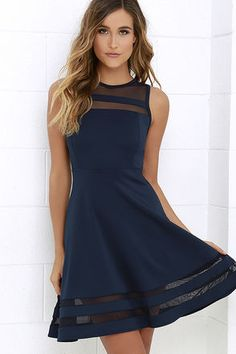 You can make it to every finish line with the Final Stretch Navy Blue Dress to push you through! Thick navy blue fabric stretches easily from waist to swirling skirt, with stripes of sheer blue mesh at neckline and hem for that last burst of inspiration!