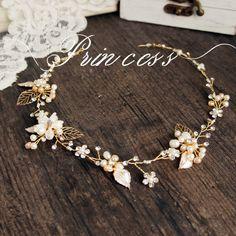 Elegant Pearls Flower Clear Rhinestones Gold Leaf Wedding Hair Vine Headband Bridal Headpiece-in Hair Jewelry from Jewelry on Aliexpress.com | Alibaba Group