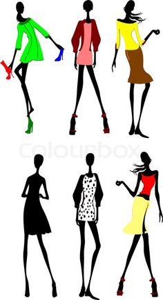 Stock vector of 'Six Fashion Girls Silhouette. More In My Portfolio.'